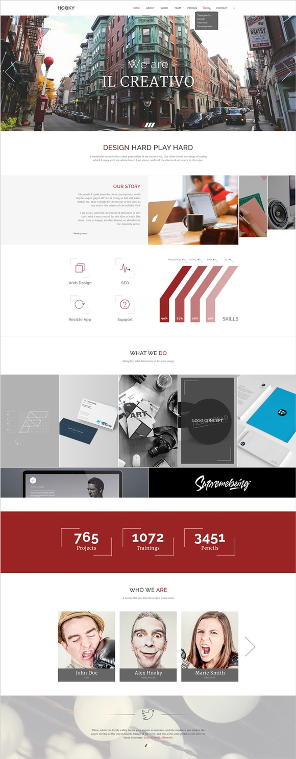 HOOKY – ONE PAGE CREATIVE PSD THEME