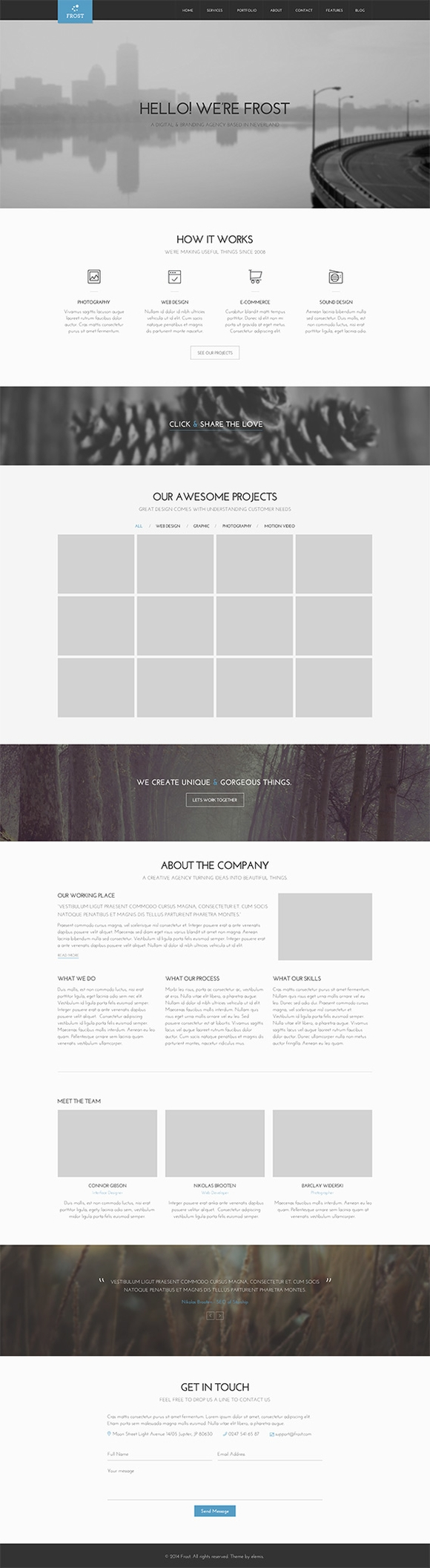 Frost Free Homepage PSD