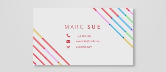 Business card with colorful lines