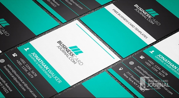 Bold & Contrasting Vertical Business Card Template 2016
