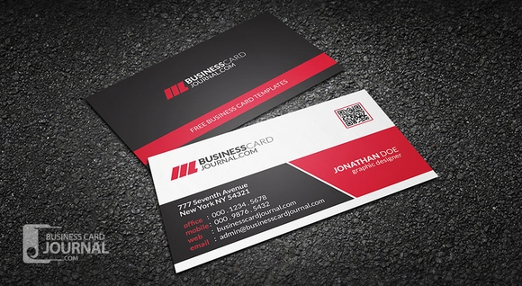 Modern Corporate Business Card With QR Code