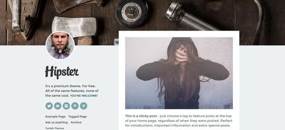 Hipster - beautiful tumblr themes