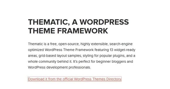 Thematic Framework - Best Free WordPress Theme Frameworks 2016