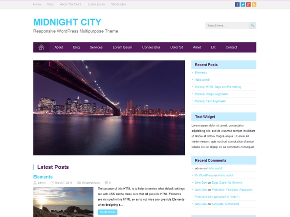 Midnight City - Best wordpress themes 2016
