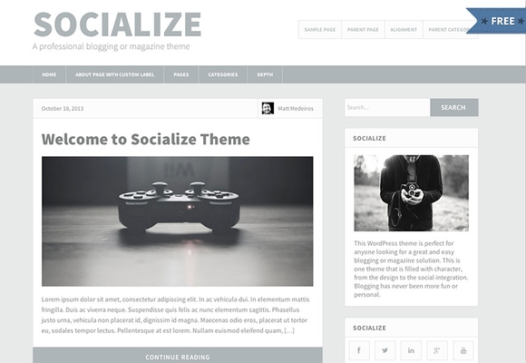 Socialize Lite - Responsive free wordpress themes 2016