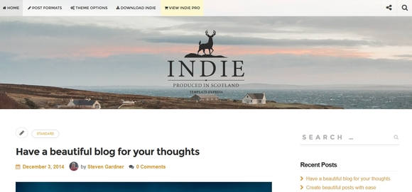 Indie - Best free wordpress themes 2016
