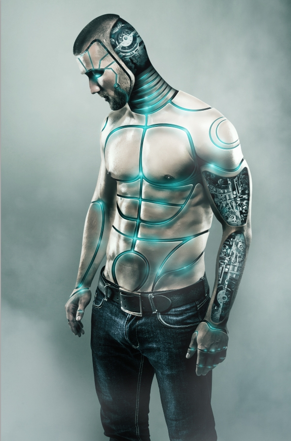 Futuristic Male Cyborg Photo Manipulation Tutorial
