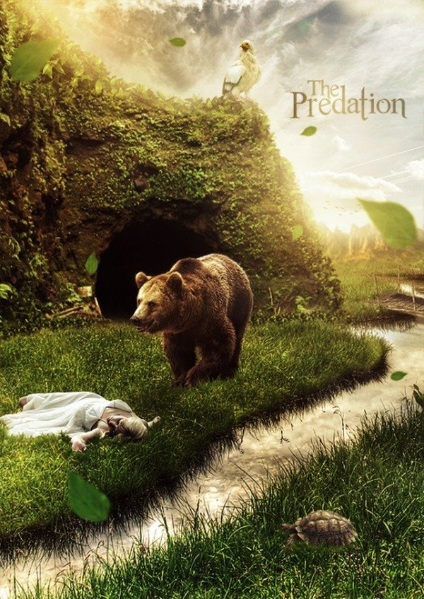 Create a Hungry Bear Composite in Photoshop - photo manipulation tutorials 2016