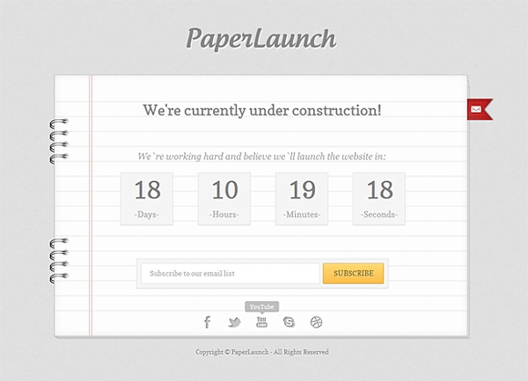 Paperlaunch - free coming soon html5 website templates 2016